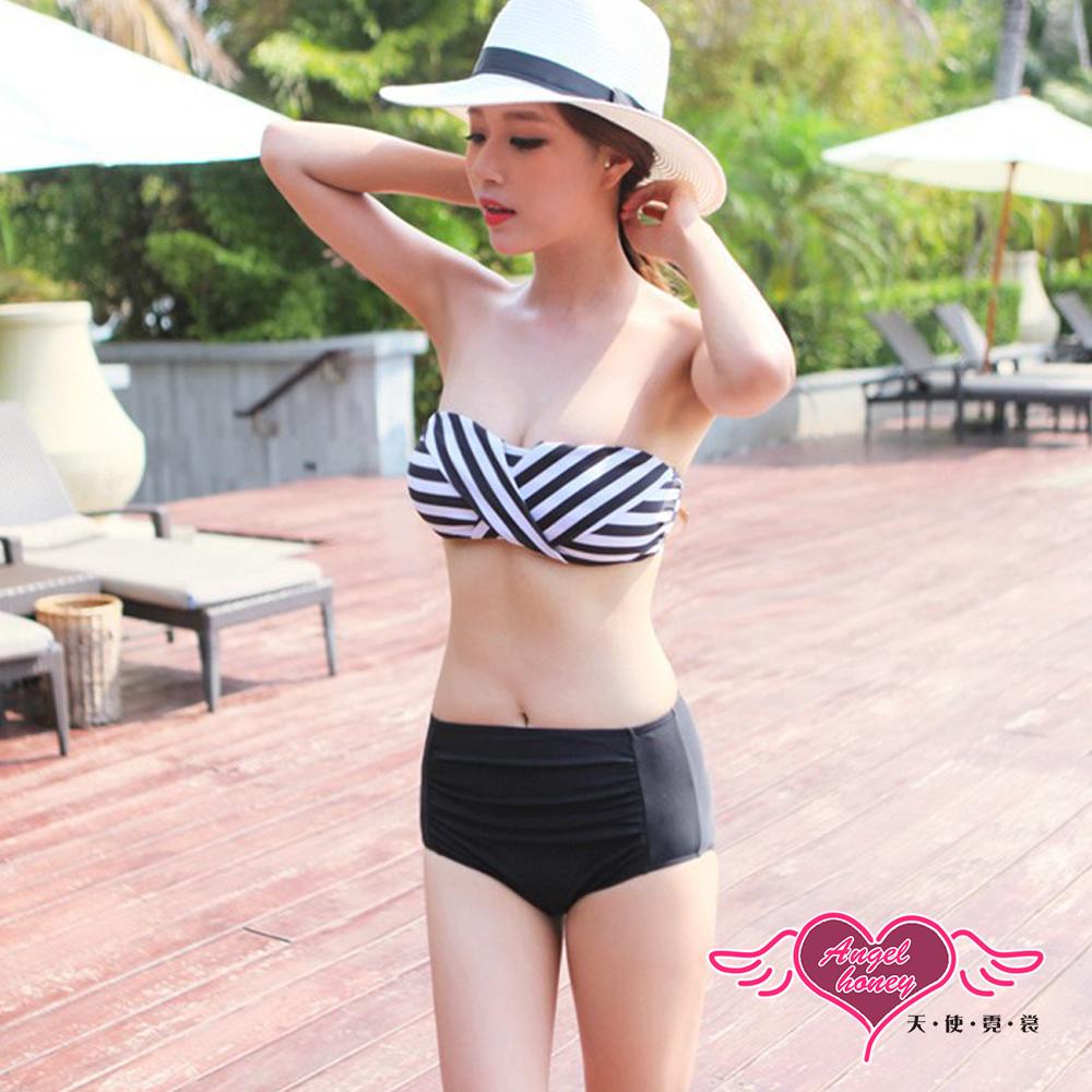 泳衣 交錯條紋 兩件式泳衣(白黑M~XL)AngelHoney天使霓裳