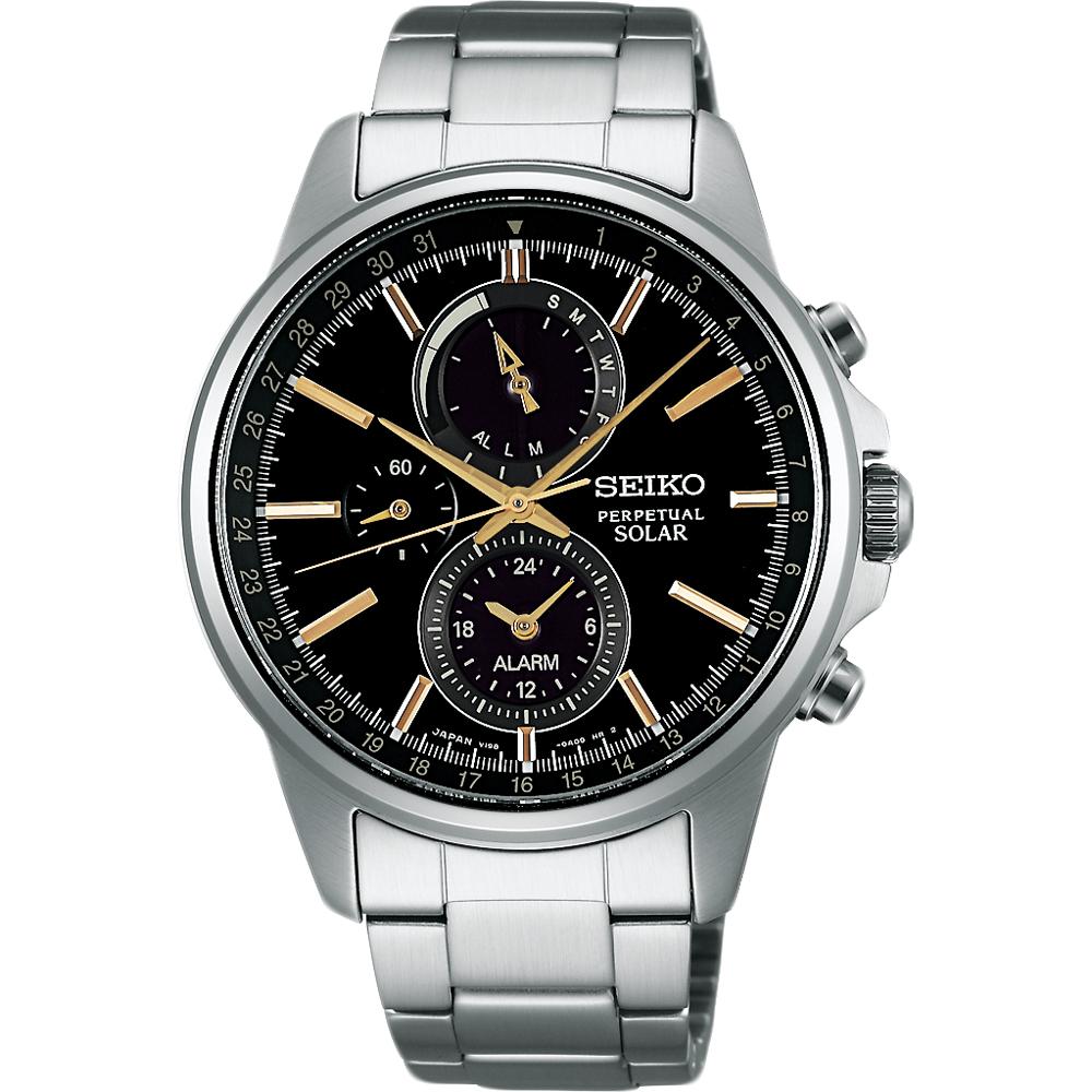 SEIKO SPIRIT 太陽能動力儲存計時碼錶(SBPJ007J)-黑x金時標/41mm