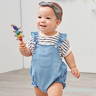 les enphants baby 清甜小花天絲牛仔吊帶褲 牛仔藍