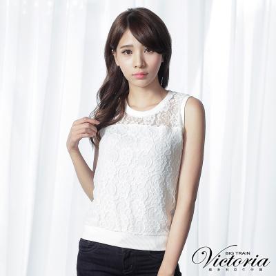 Victoria 蕾絲拼接背心-女-白色