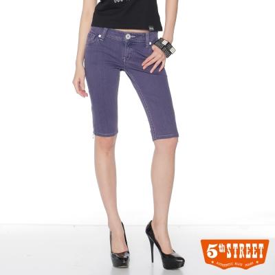 5th-STREET-短褲-MS側拉鍊亮彩五分褲-女款-葡紫