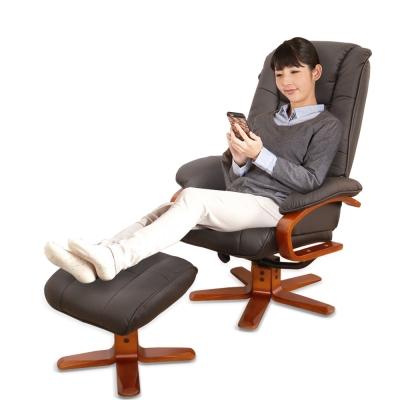 【Sun Pin】Steward史都華伯爵半牛皮躺椅+腳凳-黑色