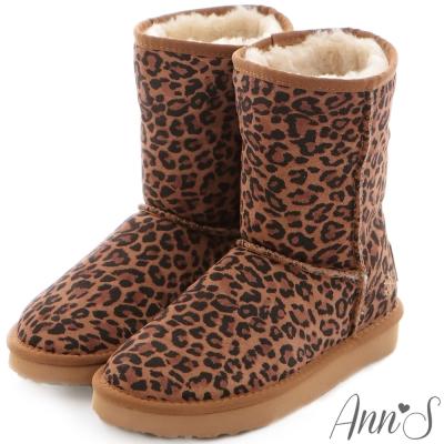 Ann'S可愛刺繡小雪花可反折素面全真皮雪靴-豹紋