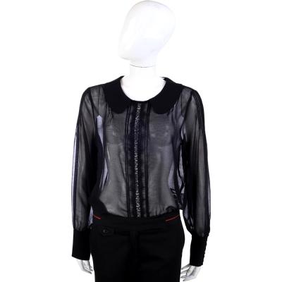 BLUGIRL 絲質透視復古長袖上衣(黑色)