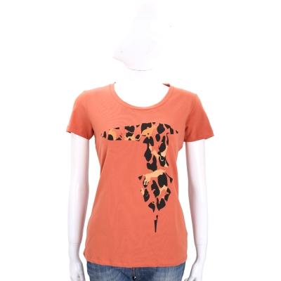 TRUSSARDI 橘色拼圖LOGO棉質短袖T恤