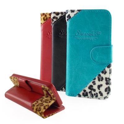 Savanna iPhone 5/5S/SE 狂野系列豹紋拼接可立皮套