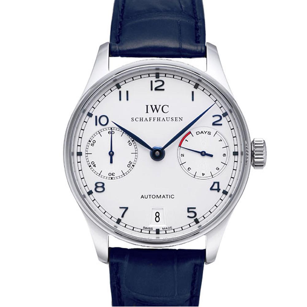 IWC 萬國錶 Portuguese 葡萄牙七日藍針機械腕錶-白/42.3mm