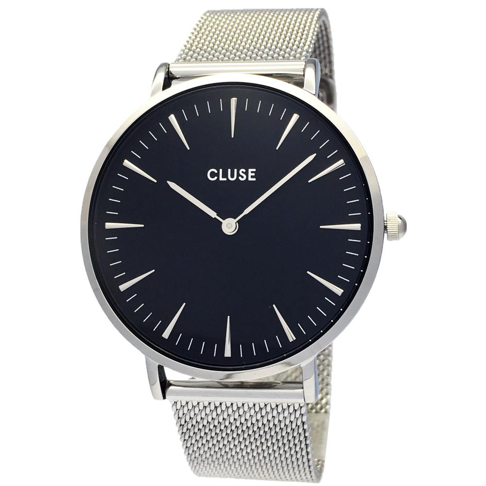 CLUSE 時尚米蘭帶手錶(CL18106)-黑面X銀色/38mm