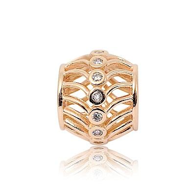 Pandora 潘朵拉 玫瑰金線條鏤空鑲鋯 純銀墜飾 串珠