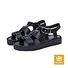 達芙妮DAPHNE ShoeBox系列 涼鞋-羅馬式鋸齒厚底休閒涼鞋-黑