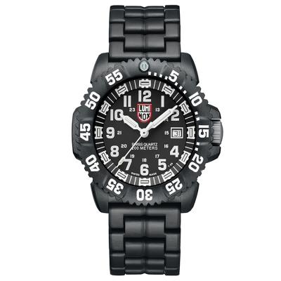 LUMINOX 雷明時 海豹部隊 碳纖維輕量鍊帶腕錶-黑x白時標/44mm