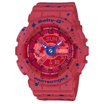 BABY-G 閃耀星空噴濺概念設計休閒錶( BA-110ST-4A)紅/43.3mm