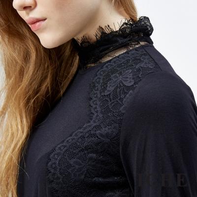 ICHE-衣哲-微高領3D蕾絲羊毛上衣-兩色