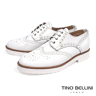 Tino Bellini 義大利進口中性白底綁帶牛津鞋_ 白
