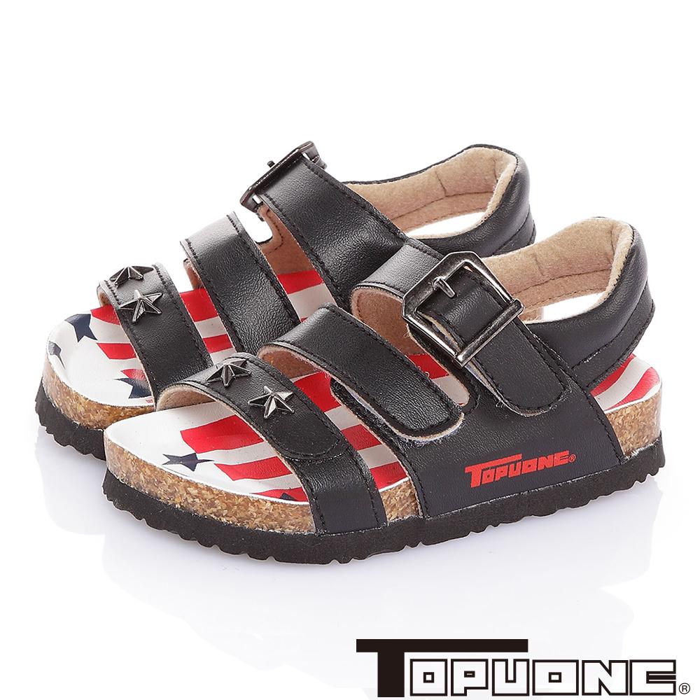 TOPUONE 美國風腳床型減壓吸震休閒涼鞋童鞋-黑