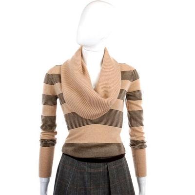 MARIA DI RIPABIANCA 駝/黑色條紋翻領針織毛衣