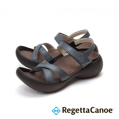 RegettaCanoe-皮革交叉 蛋型鞋底樂步鞋-經典黑
