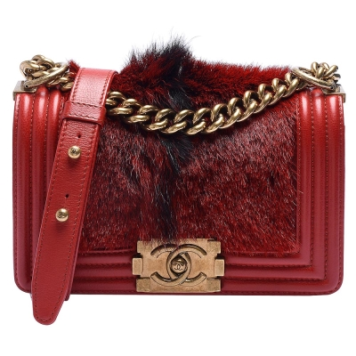 CHANEL BOY系列馬毛X牛皮小香金屬釦壓邊金鍊肩背包(紅-20cm)