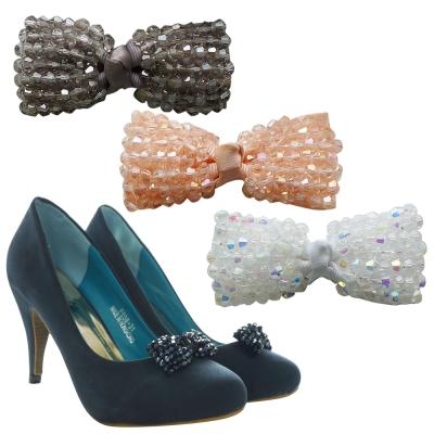 足的美形  經典蝴蝶結水晶串珠鞋飾 (1對)