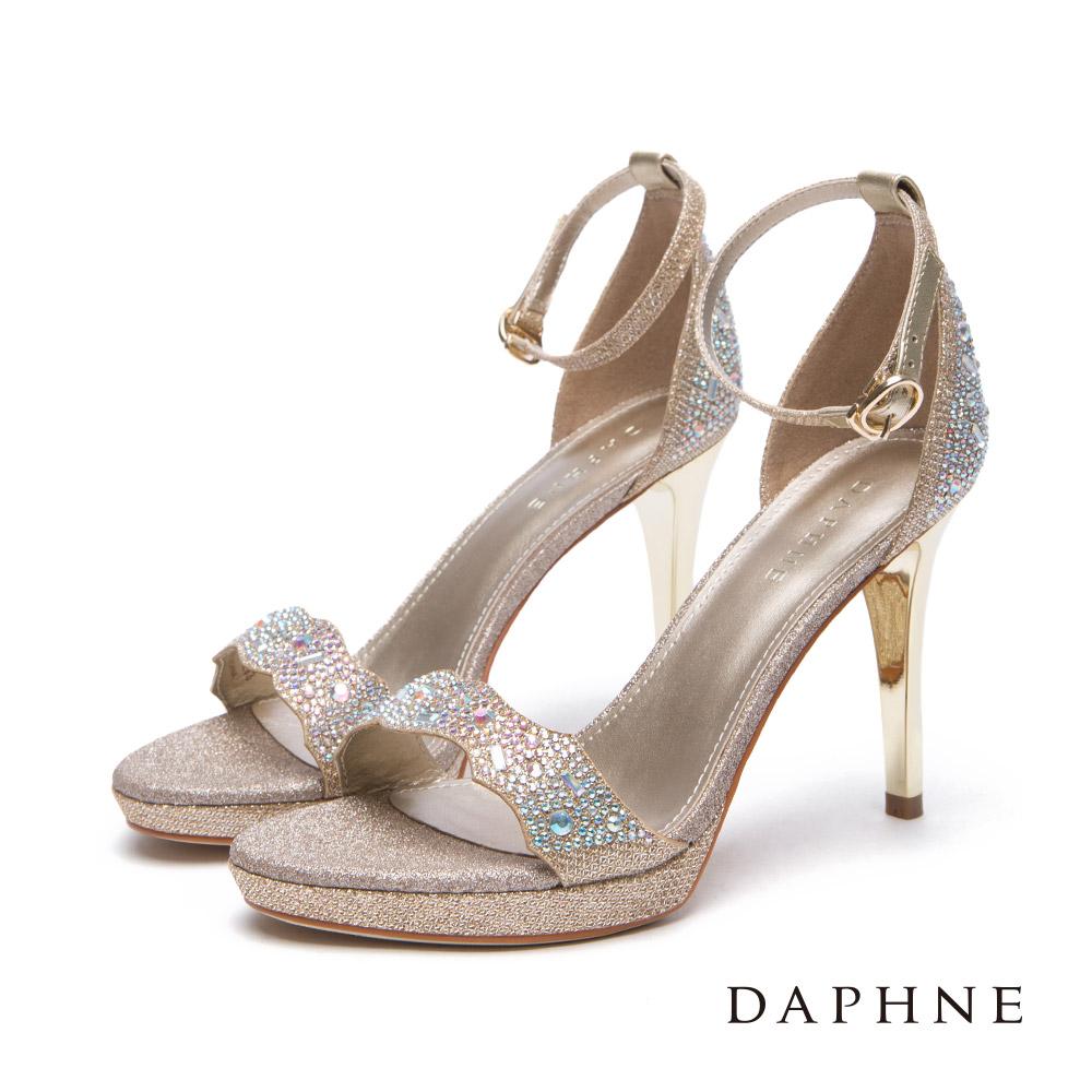 達芙妮DAPHNE 涼鞋-金蔥水鑽前高後高花邊一字細跟涼鞋-金
