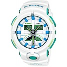 G-SHOCK渾圓帥氣風格春遊配色概念休閒錶(GA-500WG-7A)綠面X白51.9mm