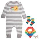 Frugi 灰白條紋彩虹有機棉長袖連身裝禮盒組