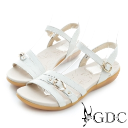 GDC-扣帶裝飾一字真皮楔型厚底涼鞋-白色
