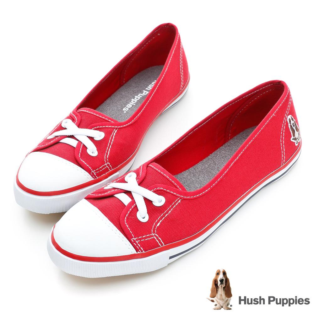 Hush Puppies 熱銷基本款★咖啡紗娃娃鞋-紅