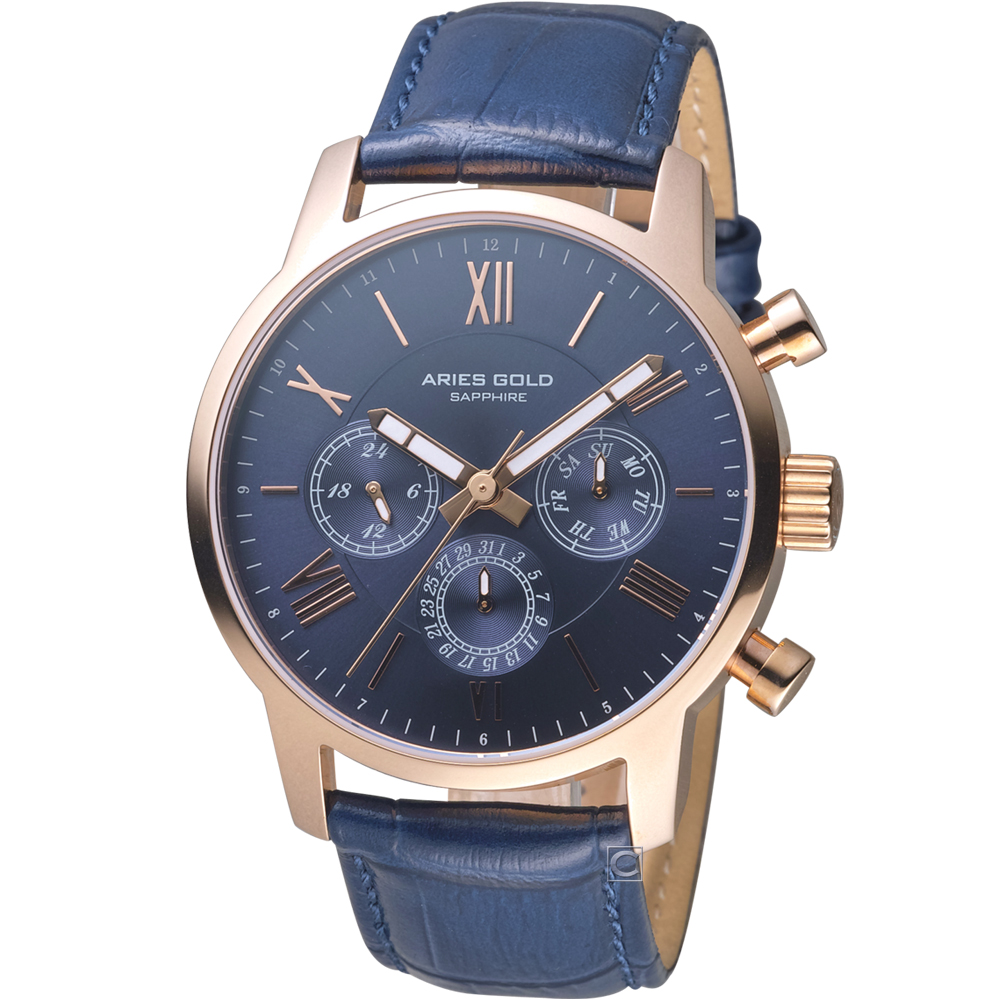 Aries Gold 雅力士 城市系列永恆經典腕錶-藍/43mm