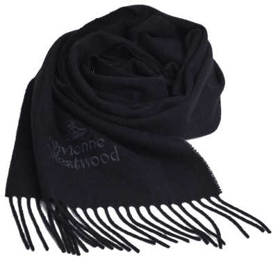 Vivienne Westwood 長版刺繡行星LOGO羊毛圍巾(黑)
