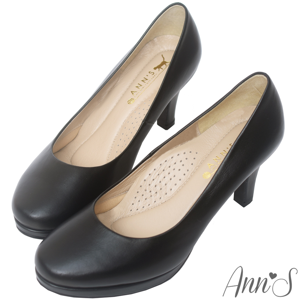 Ann'S初學者高跟鞋-頂級小羊皮防水台素面包鞋-黑