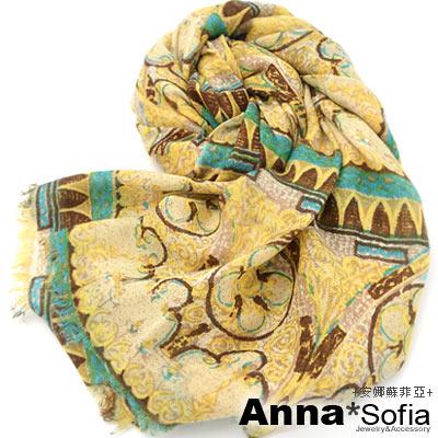 AnnaSofia 歌德樊騰 薄款純羊毛圍巾(黃褐系)