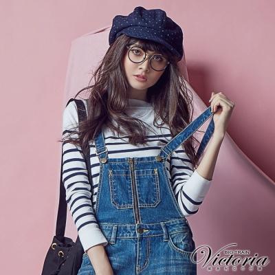 Victoria 船型領條紋長袖線衫-女-白底藍條