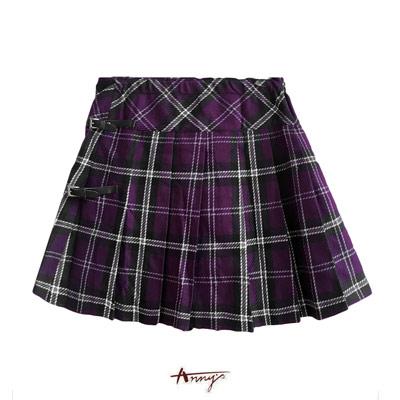 Anny夢幻紫格紋個性釦設計百摺片短裙*1264紫
