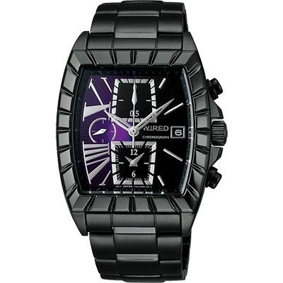 WIRED 星際戰艦三眼計時腕錶(AGAV068)-紫x黑/IP黑/36x38mm