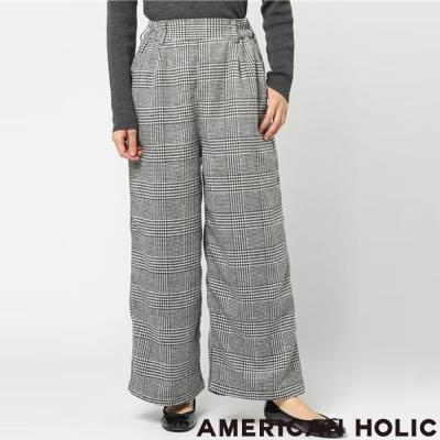 AMERICAN HOLIC 經典格紋後鬆緊設計寬褲