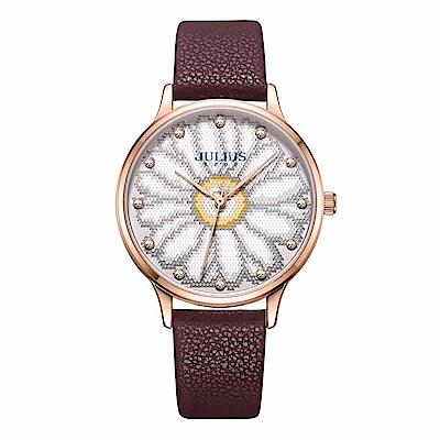 JULIUS聚利時 花樣年華簡約時尚腕錶-酒紅色/36mm