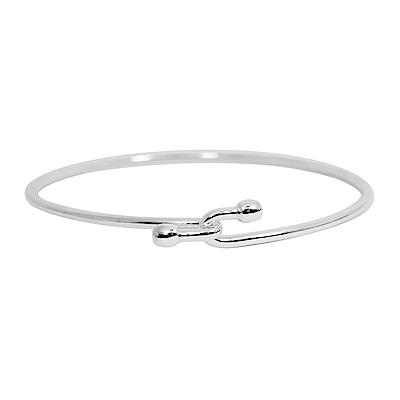 Tiffany&Co. 圓珠交叉扣925純銀細款手鍊手環