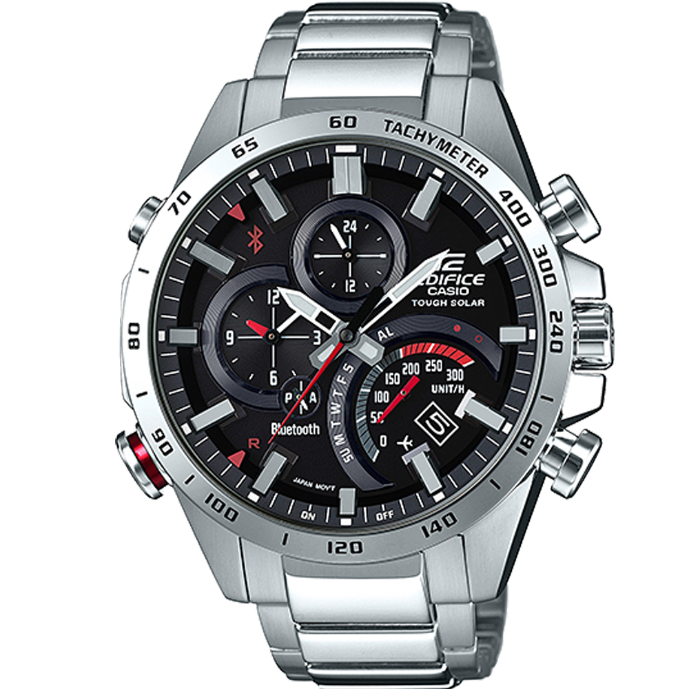 EDIFICE  兩地時間藍牙智慧錶(EQB-501XD-1A)黑/48.1mm