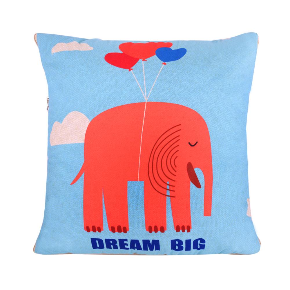 童趣插畫風 舒適兩用棉被抱枕/靠枕/午睡枕 (氣球小象)