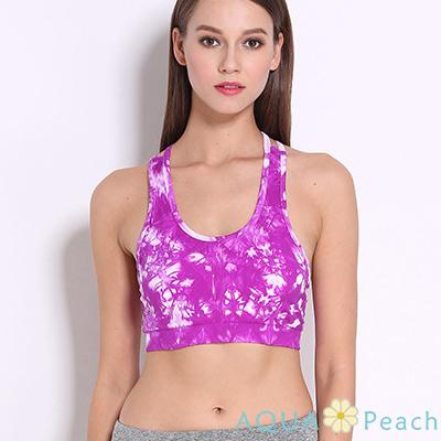 運動內衣 潑墨感渲染交叉美背彈性背心 (紫色)-AQUA Peach