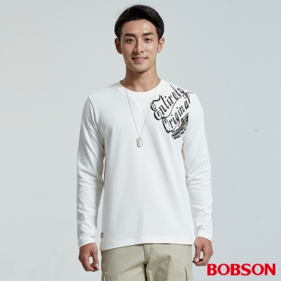 BOBSON  男款圓領彈性印圖白色上衣