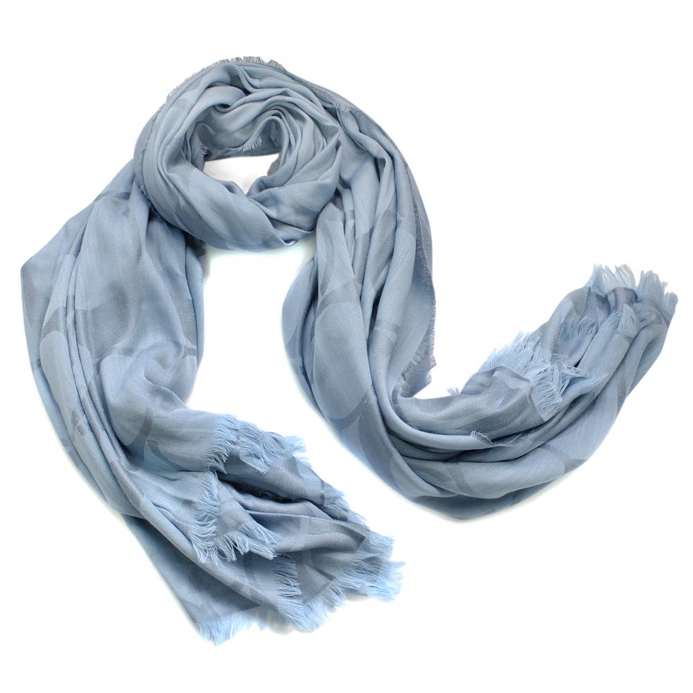COACH淺藍大C Logo羊毛披肩式圍巾178x132