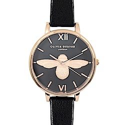 Olivia Burton 英倫復古手錶 3D立體蜜蜂 黑色真皮錶帶 玫瑰金框38mm