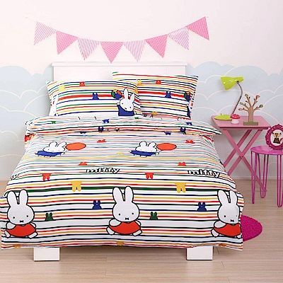 Miffy 忒萌活性印染超細纖雙人床包枕套三件組-氣球米飛