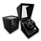 機械錶自動上鍊盒 1旋2入錶座轉動 高質感碳纖維 - 黑色