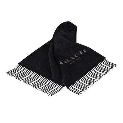 COACH經典印花LOGO厚質羊毛流蘇圍巾(黑X淺咖)COACH