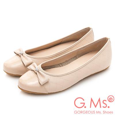 G.Ms. MIT系列-漆皮拼接菱格牛皮娃娃鞋-粉杏