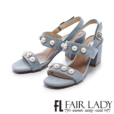 Fair Lady 優雅珍珠裝飾寬帶粗跟涼鞋 藍