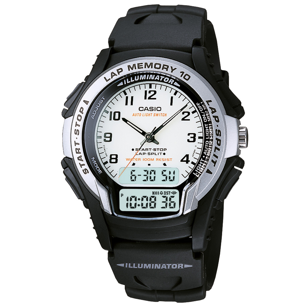 CASIO 運動武士指針雙顯錶(WS-300-7B)-白/40mm